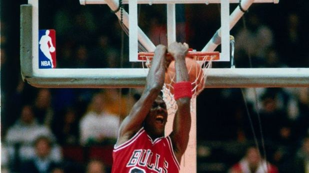 Michael Jordan in action during the 1988 All-Star Dunk Contest