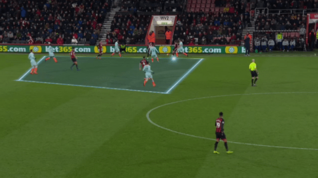 Bournemouth escaped with the ball from this position