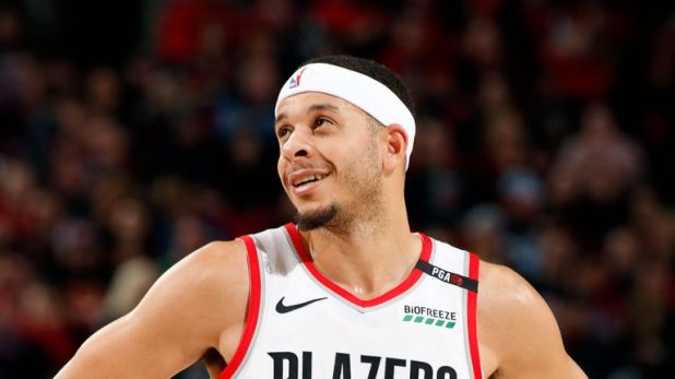 Seth Curry looks on in the game against the Atlanta Hawks