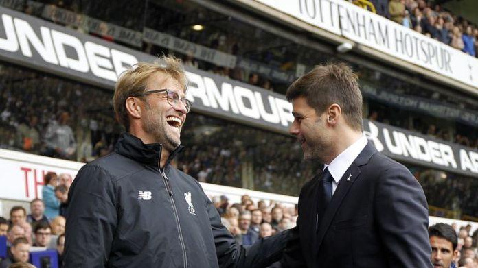 Jurgen Klopp speaks with Mauricio Pochettino at White Hart Lane