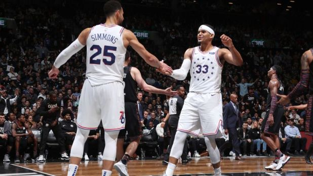Ben Simmons and Tobias Harris share congratulations during Game 3 in Brooklyn