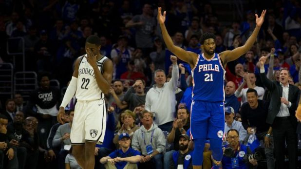 Joel Embiid celebrates during Philadelphia's Game 2 victory over Brooklyn