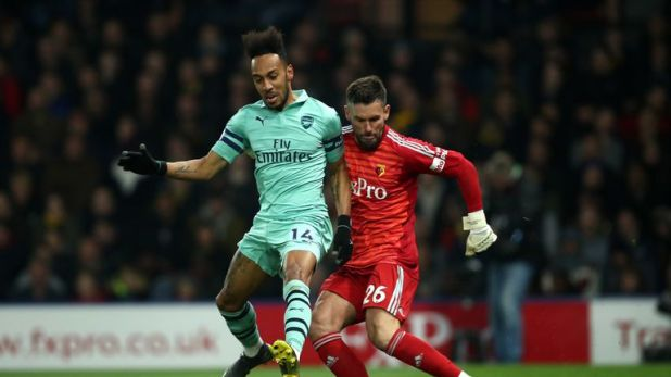 Pierre-Emerick Aubameyang of Arsenal scored after a Ben Foster clearance rebounded off his leg