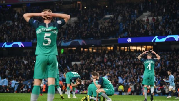 Tottenham were dejected when it appeared they had conceded a last-minute goal