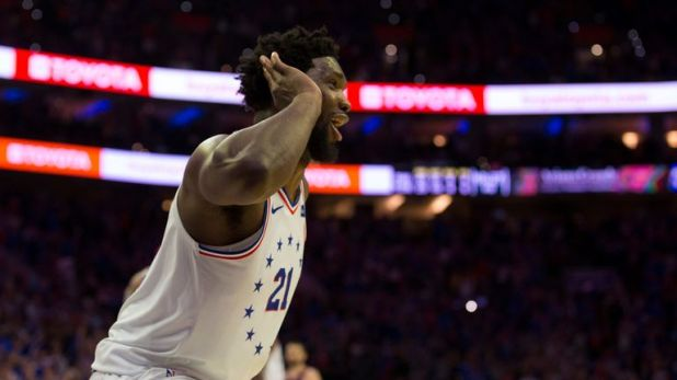 Joel Embiid milks the adulation of the crowd during the Philadelphia 76ers Game 3 win over the Toronto Raptors