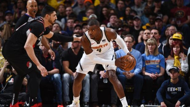 Paul Millsap attacks Enes Kanter in the Nuggets' Game 5 blow out of the Trail Blazers