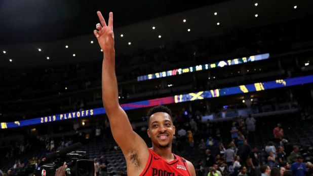CJ McCollum of the Portland Trail Blazers celebrates their win against the Denver Nuggetts during Game Seven of the Western Conference Semi-Finals of the 2019 NBA Playoffs
