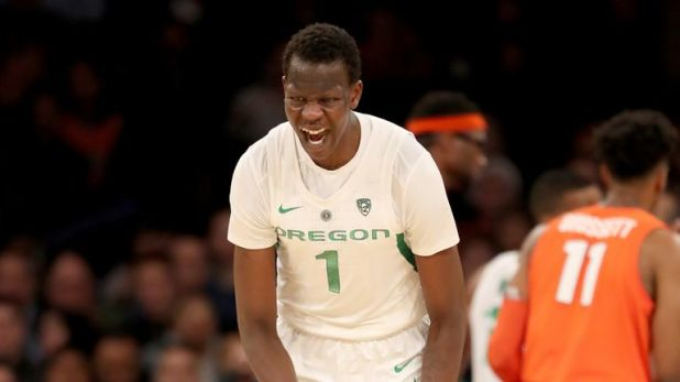Bol Bol #1 of the Oregon Ducks celebrates his three point shot in the second half against the Syracuse Orange during the 2K Empire Classic at Madison Square Garden on November 16, 2018 in New York City.The Oregon Ducks defeated the Syracuse Orange 80-65