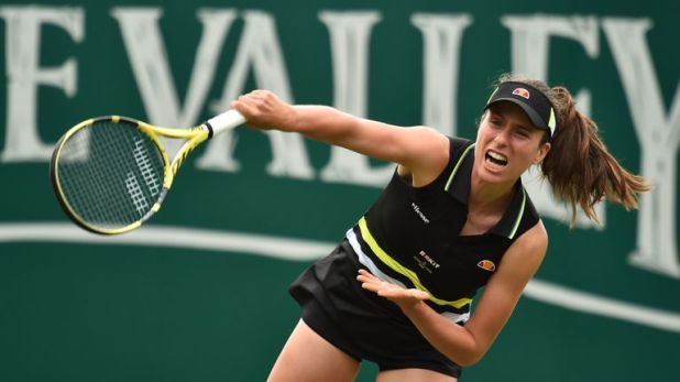 Johanna Konta departed her home tournament in the third round