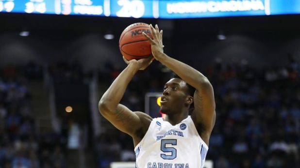 Nassir Little #5 of the North Carolina Tar Heels shoots the ball against the Auburn Tigers during the 2019 NCAA Basketball Tournament Midwest Regional at Sprint Center on March 29, 2019 in Kansas City, Missouri.