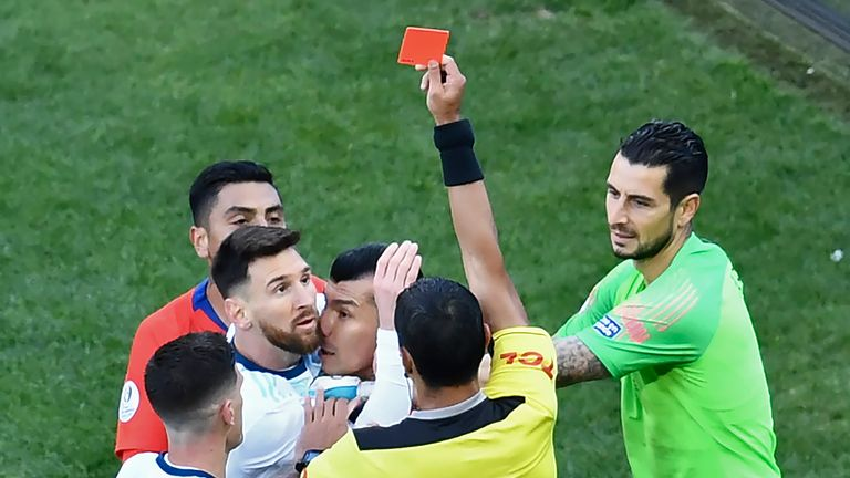 Messi was sent off against Chile in their third place play-off game