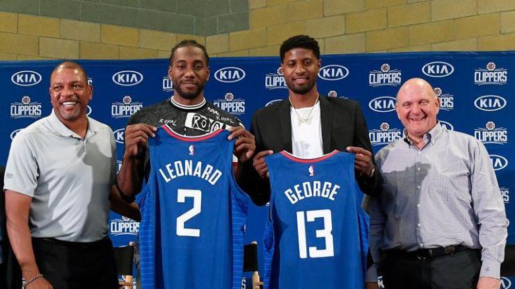 Kawhi Leonard y Paul George presentados por Los Angeles Clippers