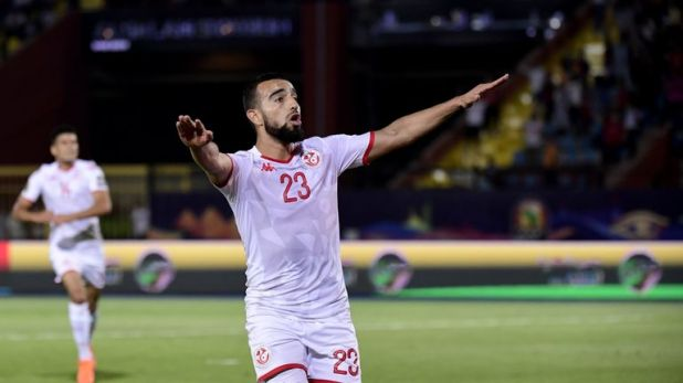 Tunisia's Naim Sliti celebrates scoring against Madagascar during their AFCON last-eight encounter