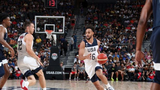 Derrick White in action during the Team USA scrimmage in Las Vegas