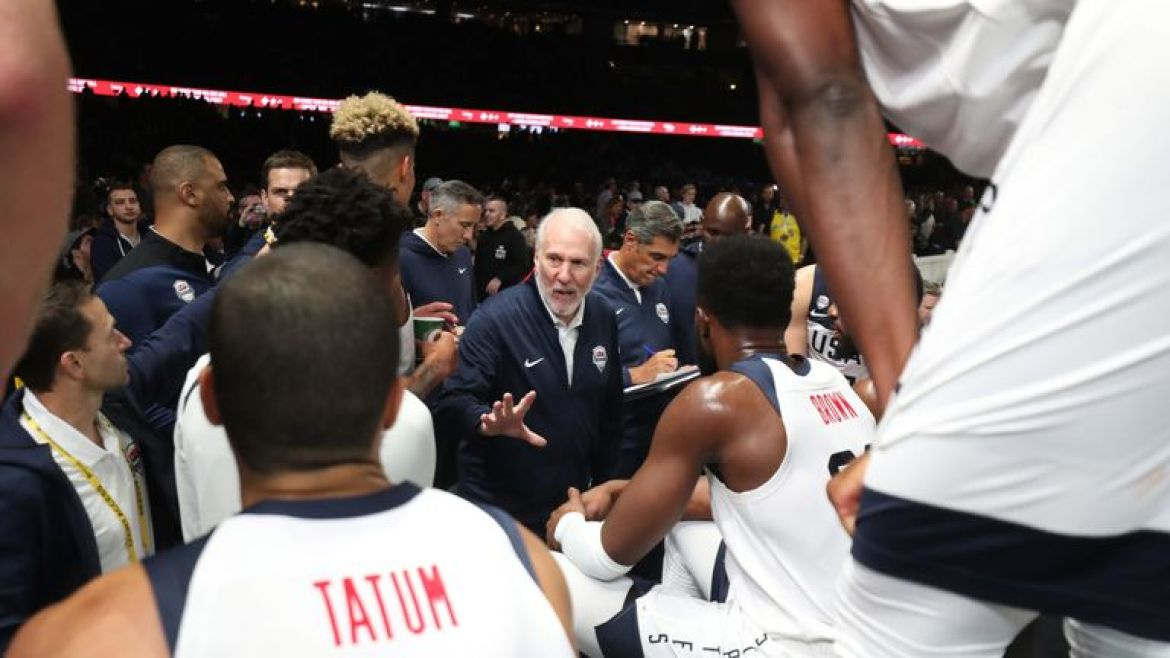 Gregg Popovich issues instructions during a timeout in the US's World Cup warm-up against Australia