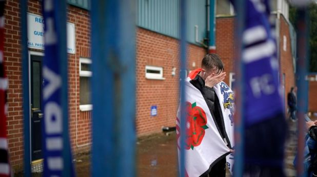 Fans of Bury gathered outside Gigg Lane following the club's EFL expulsion