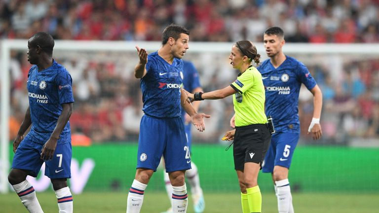Stephanie Frappart became the first woman to referee a major UEFA men's match
