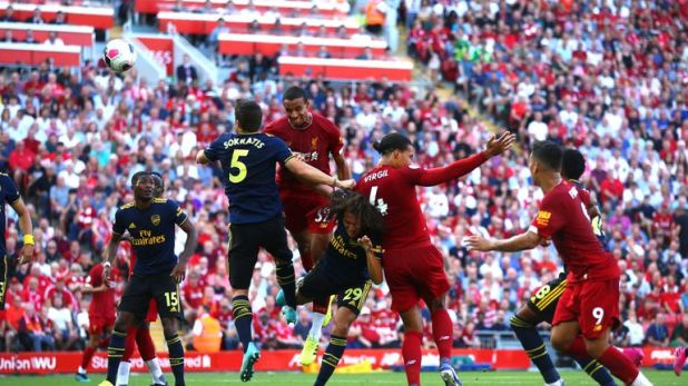 Joel Matip heads Liverpool in to a one-goal lead