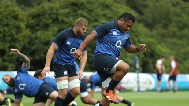 Vunipola goes through his paces at England's training base at Pennyhill Park