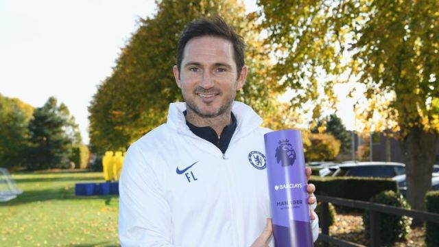 Image result for frank lampard wins manager of the month
