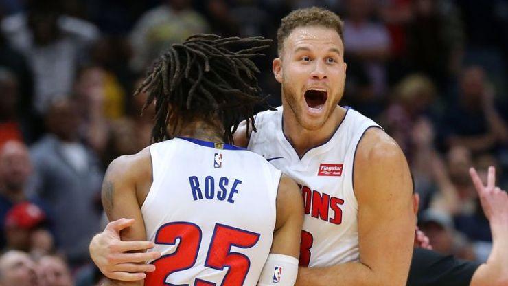 Blake Griffin celebra después de que Derrick Rose golpea el tiro ganador en la victoria de Detroit sobre Nueva Orleans
