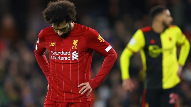 Mohamed Salah looks dejected during the Premier League match between Watford and Liverpool