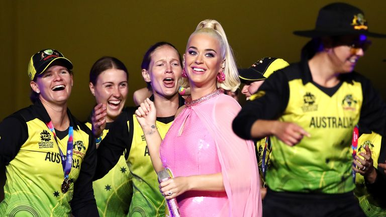 Australia Women players with Katy Perry after their victory in the ICC T20 World Cup final