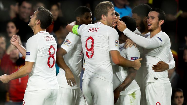 Harry Kane of England, Harry Winks of England, Ben Chilwell of England , Raheem Sterling of England during the UEFA Nations league match between Spain v England at the Estadio Benito Villamarin on October 15, 2018 in Sevilla Spain