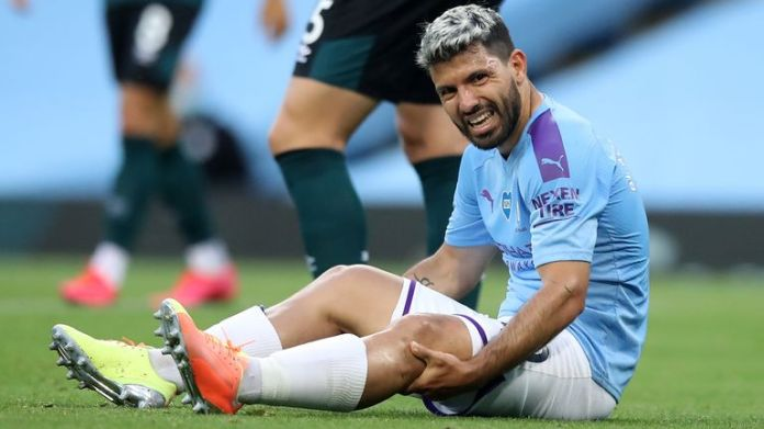 Sergio Aguero was substituted with a knee injury against Burnley