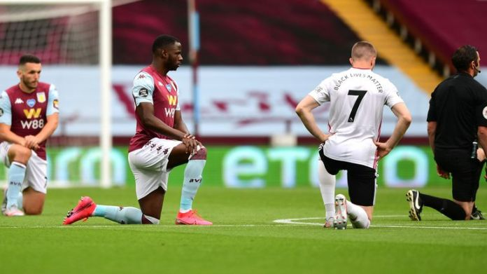 Aston Villa and Sheffield United take the knee in support of the Black Lives Matter movement