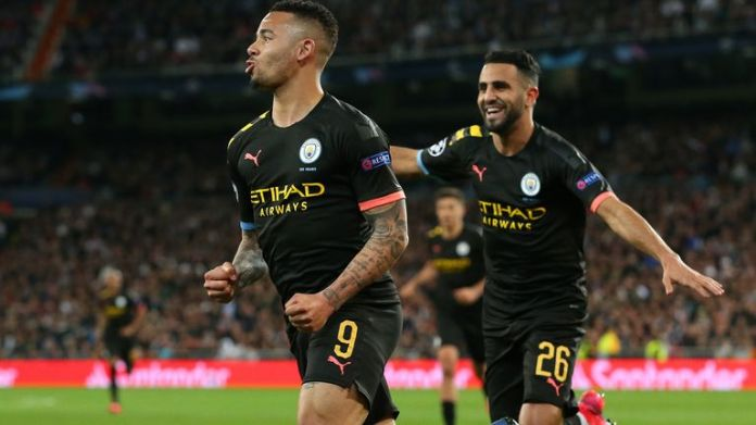 Gabriel Jesus (left) scored in Manchester City's first leg against Real Madrid at the Bernabeu in February