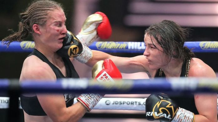 Katie Taylor seals points against Delfine Persoon on the other hand