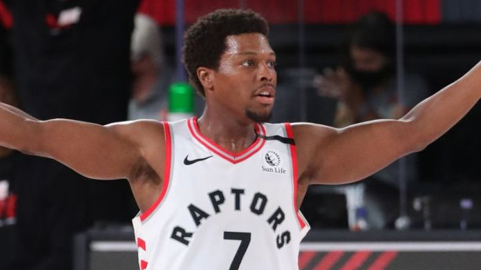 Kyle Lowry celebrates a basket during the Raptors' win over the Lakers