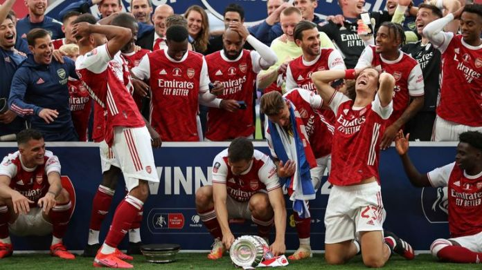 Aubameyang shows dismay after dropping out of FA Cup during celebrations
