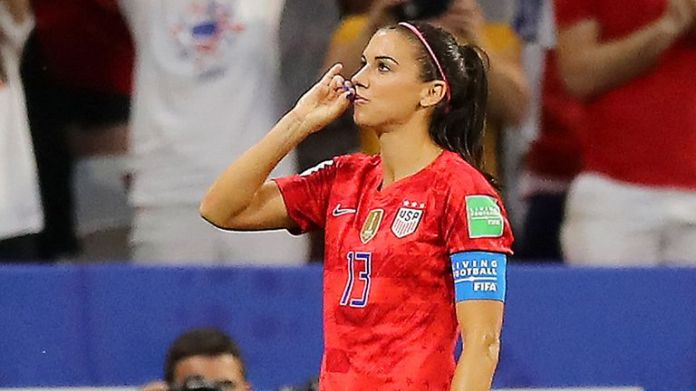 Alex Morgan pretended to sip tea after scoring against England during last summer's World Cup
