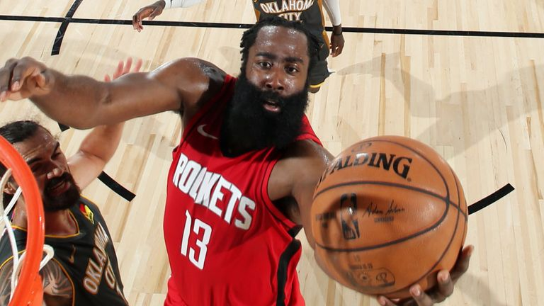 James Harden drives to the rim to score for the Houston Rockets during their Game 6 loss to the Oklahoma City Thunder