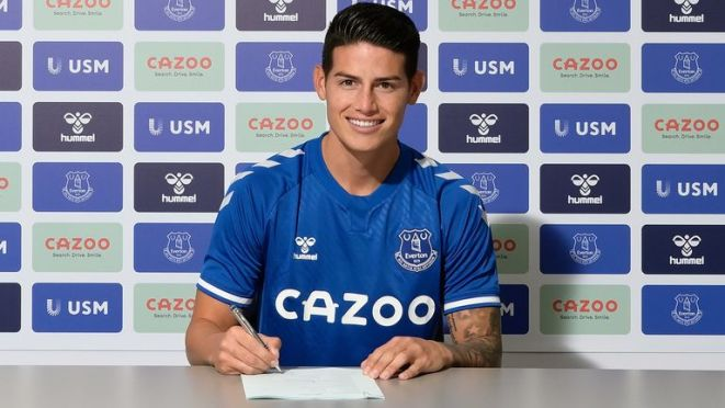 James Rodriguez has completed his move to Everton