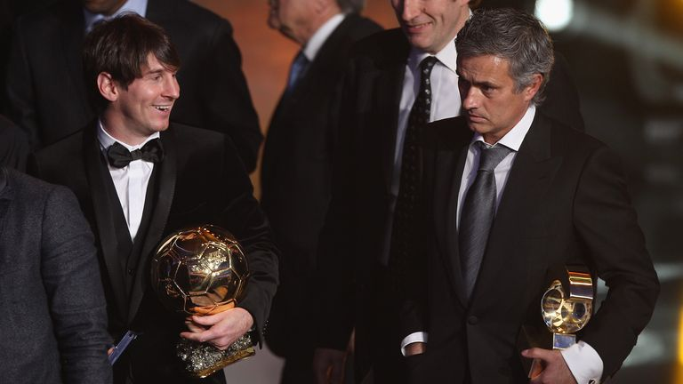 Jose Mourinho and Lionel Messi during the FIFA Ballon d'or Gala at the Zurich Kongresshaus on January 10, 2011 in Zurich, Switzerland.
