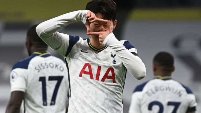 Heung-min Son celebrates his opener