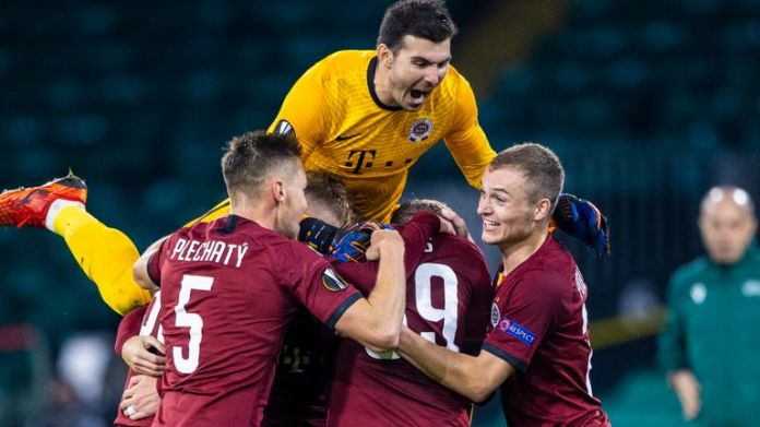 Sparta Prague players celebrate Lukas Julis' opening goal against Celtic