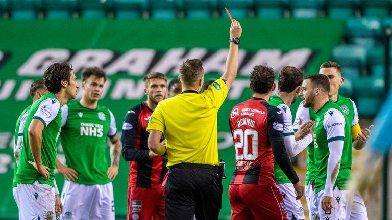 Christian Doidge is sent off during the Scottish Premiership match between Hibernian and St Mirren