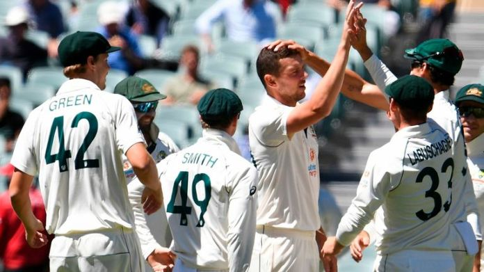 Josh Hazlewood took 5-8 as India were skittled for 36 in the first Test in Adelaide
