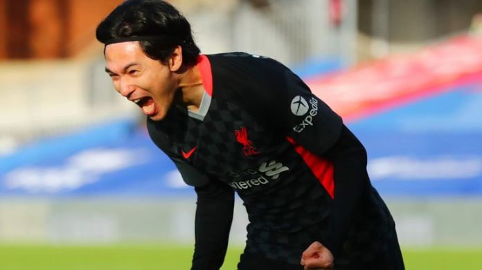 Takumi Minamino scored his first Premier League goal against Crystal Palace