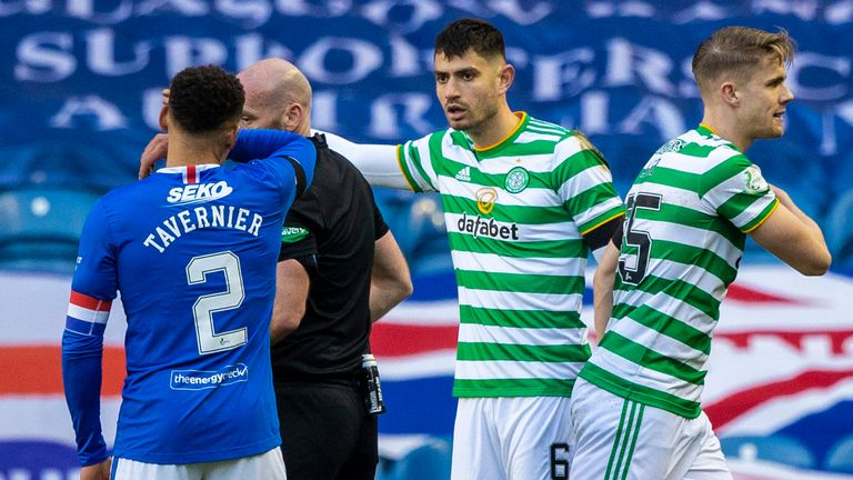 Referee Bobby Madden sends off Bitton as the pendulum swung Rangers' way
