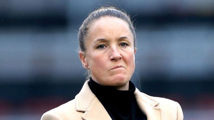 Manchester United manager Casey Stoney watches over the pre-match warm up prior to the beginning of the FA Women's Super League match at Leigh Sports Village.