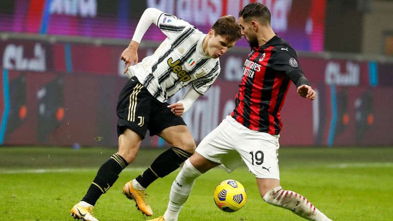 Juventus' Federico Chiesa skips past Milan's Theo Hernandez. Pic: AP