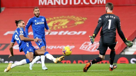 Everton's Dominic Calvert-Lewin scores his side's third goal against Manchester United