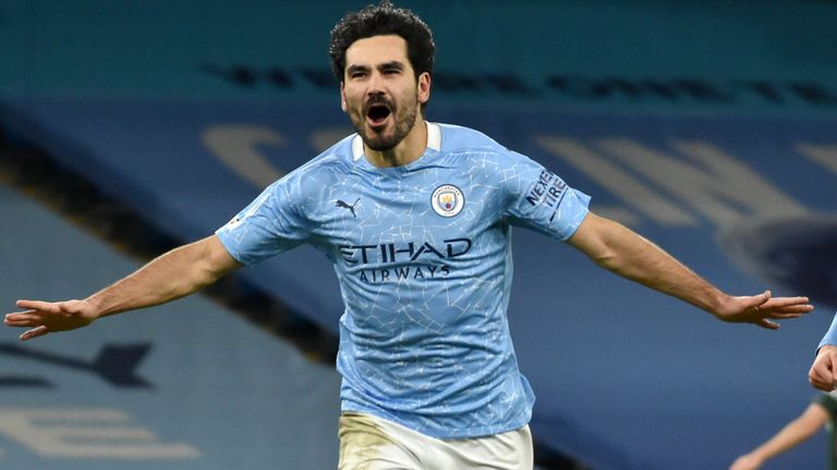 Ilkay Gundogan celebrates his second goal for Manchester City against Tottenham