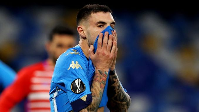 Napoli's Matteo Politano reacts after his side's Europa League exit