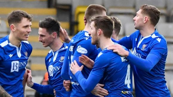 St Johnstone players come together to celebrate team-mate Scott Tanser's first half goal